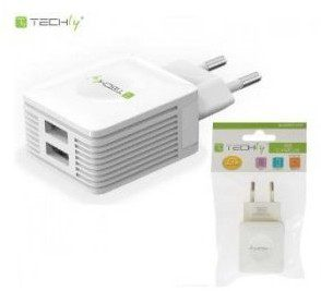 Techly Ładowarka sieciowa 230V 2x USB 5V 2x 2.1A biała 102932