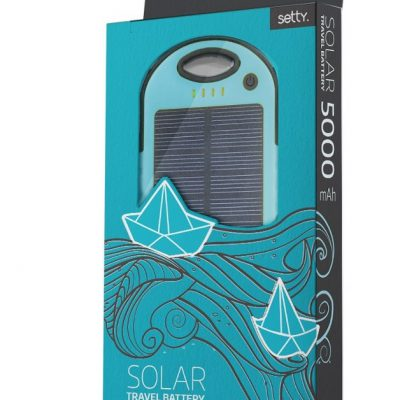 TelForceOne Power bank solarny Setty 5000 mAh niebieski GSM036555