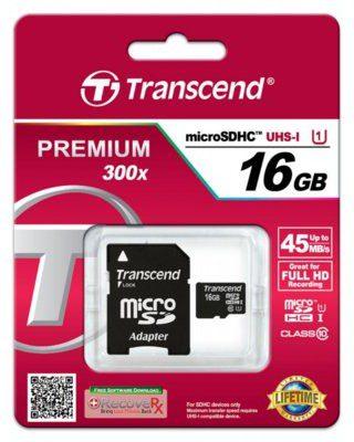 Transcend MicroSDHC Class 10 16GB (TS16GUSDU1)