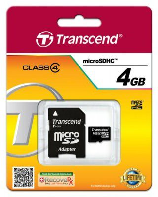 Transcend SDHC Class 4 (+ adapter) 4GB (TS4GUSDHC4)