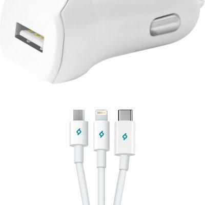 TTec Speedcharger Ładowarka samochodowa USB 2.1A micro USB+lightning+USB-C