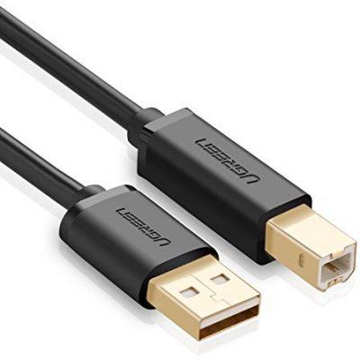 UGREEN Ugreen kabel do drukarki, wtyk A na wtyk B, pozłacane końcówki, do urządzeń, HP, Canon, Lexmark, Epson, Dell