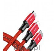 Unitek Kabel ładujący 3-in-1 USB USB-C/microUSB/Lightning 1,2m C4049RD