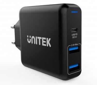 Unitek Ładowarka sieciowa 2x USB 2,4A + QC 3.0 60W PD