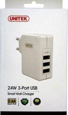 Unitek Y-P537B ładowarka sieciowa 3xUSB 2,4A 24W