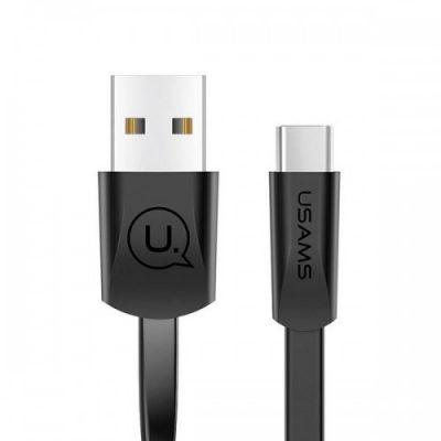 USAMS Kabel płaski U2 US-SJ200 USB-C 1,2m czarny