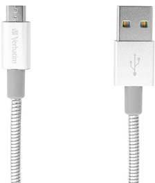 Verbatim Kabel Sync & Charge MicroUSB 30cm nerezová ocel 48866) Srebrny