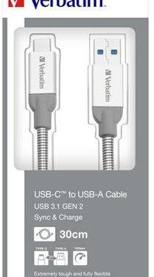 Verbatim Kabel USB 3.1 USB A M USB C M 0.3m srebrny box 48868 KULIXTS03S0E