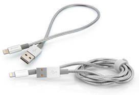Verbatim Kabel USB/Lightning 1m + 0,3m 48873) Srebrny