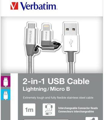 Verbatim Red Fighter Kabel USB 2.0 USB A M USB micro M 1m srebrny box 48869 regulowana końcówka Lightning KUALMRX10S0E