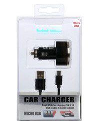 WG Ładowarka samochodowa USB 1A) + kabel micro USB