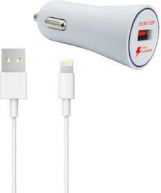 WG Zasilacz samochodowy 1xUSB QC 3.0 + Lightning kabel 5130) Biały