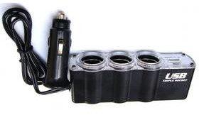 WG Zasilacz samochodowy 3x 12V + USB s prodloužením 2293) Czarny