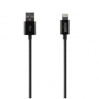 Xqisit Kabel USB Charge & Sync Lightning 100cm CZARNY TWORZYWO SZTUCZNE (40281)